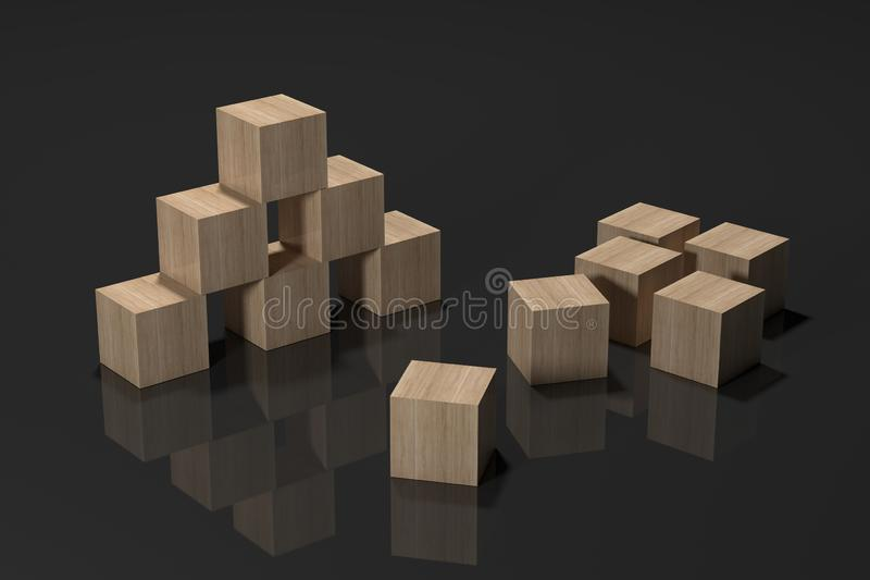 Cubos de madera en la representación superficial 3d del espejo ilustración del vector