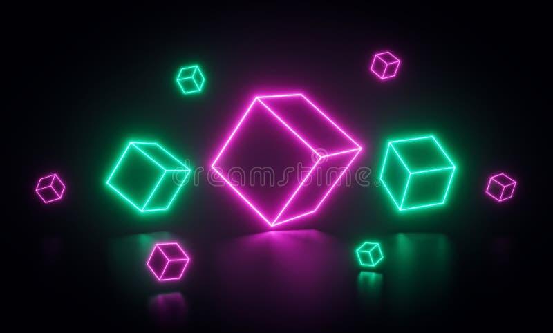 Cubos de néon abstratos coloridos rosa e linhas verdes ou formas de incandescência rendi??o 3d ilustração stock