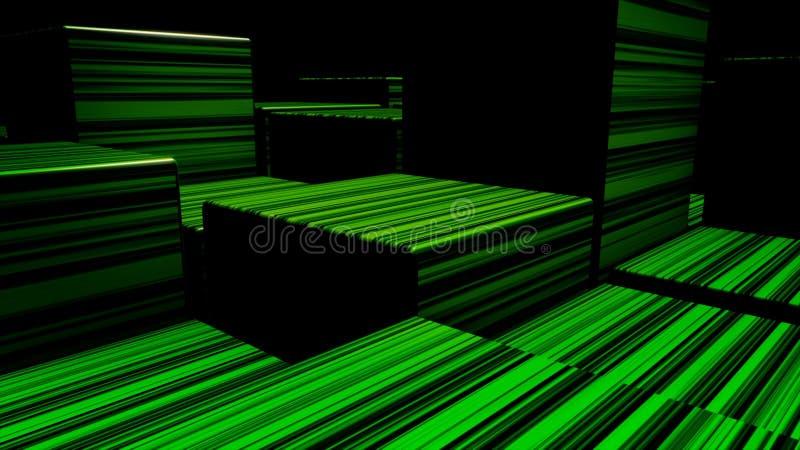 Cubos de n?on brilhantes do sum?rio Fundo dos cubos das luzes de n?on Cubos coloridos ilustração do vetor