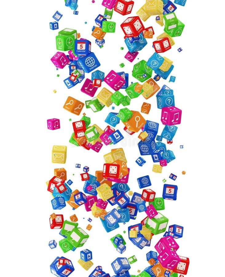 Cubos de queda do APP ilustração royalty free