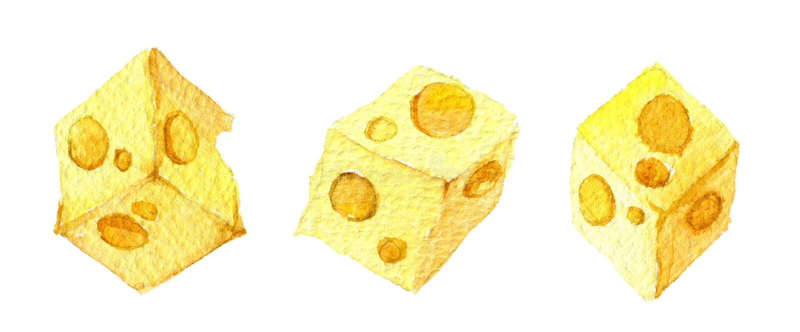 Cubos de queijo, isolados em fundo branco, aquarela foto de stock royalty free
