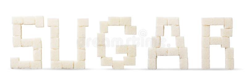 Cubos de texto refinado de açúcar em branco, isolados imagem de stock royalty free