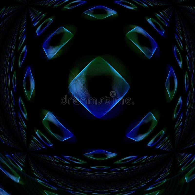Cubos de vidro azuis e verdes entortados ilustração royalty free