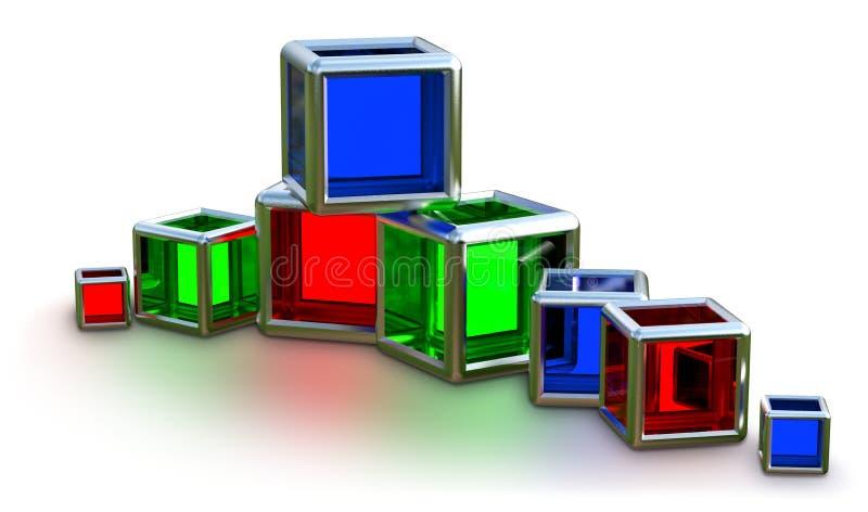 Cubos de vidro em um frame do metal ilustração royalty free