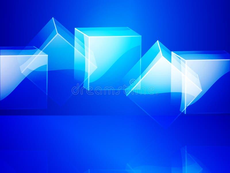 Cubos de vidro sobre o fundo azul ilustração royalty free