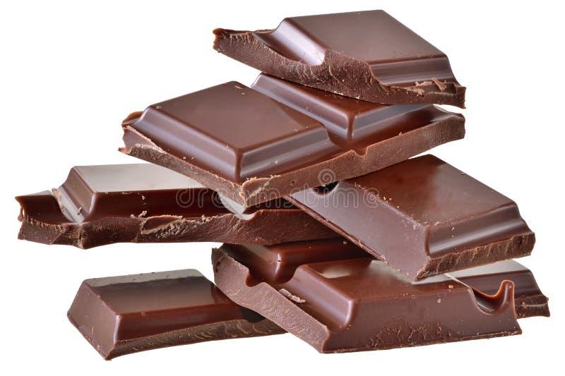 Cubos del chocolate aislados fotos de archivo