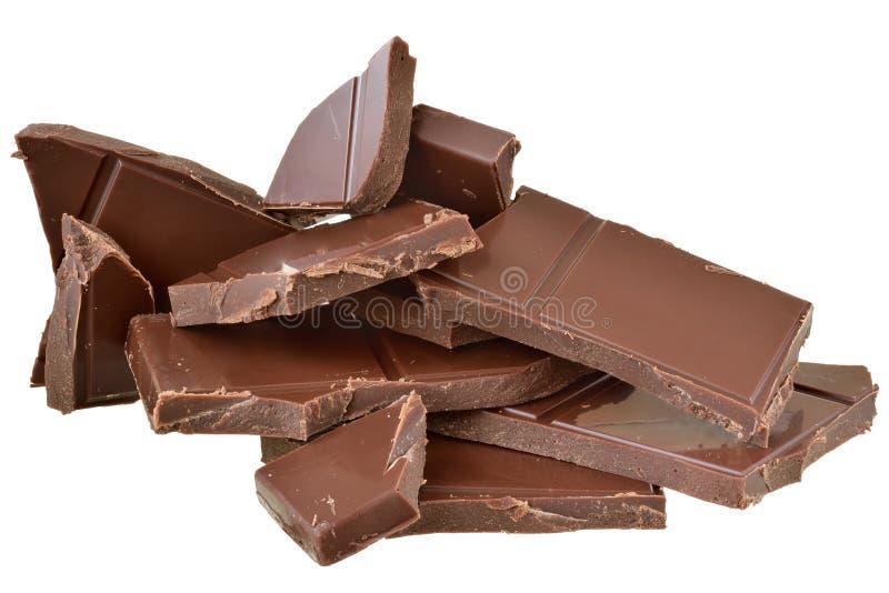 Cubos del chocolate aislados fotografía de archivo