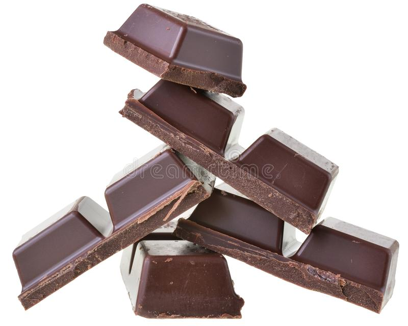 Cubos del chocolate aislados imágenes de archivo libres de regalías