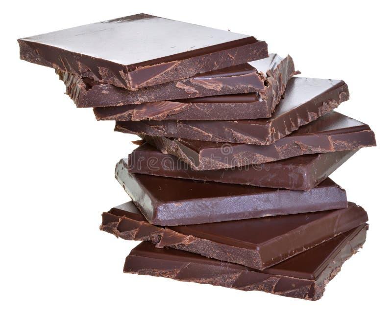 Cubos del chocolate aislados imagenes de archivo