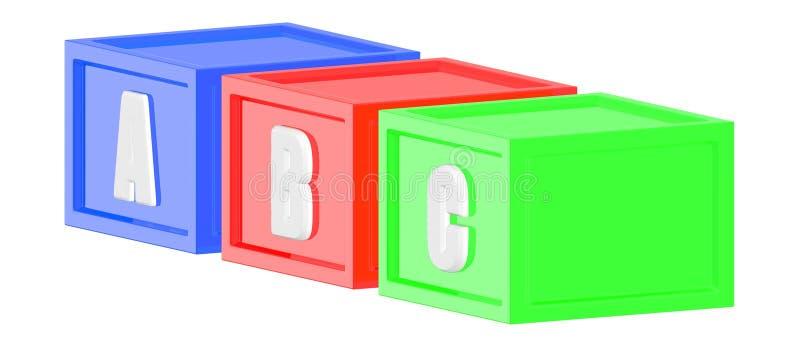 cubos del color verde del rojo azul 3d con un b c en él respectivamente stock de ilustración