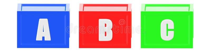 cubos del color verde del rojo azul 3d con un b c en él respectivamente libre illustration