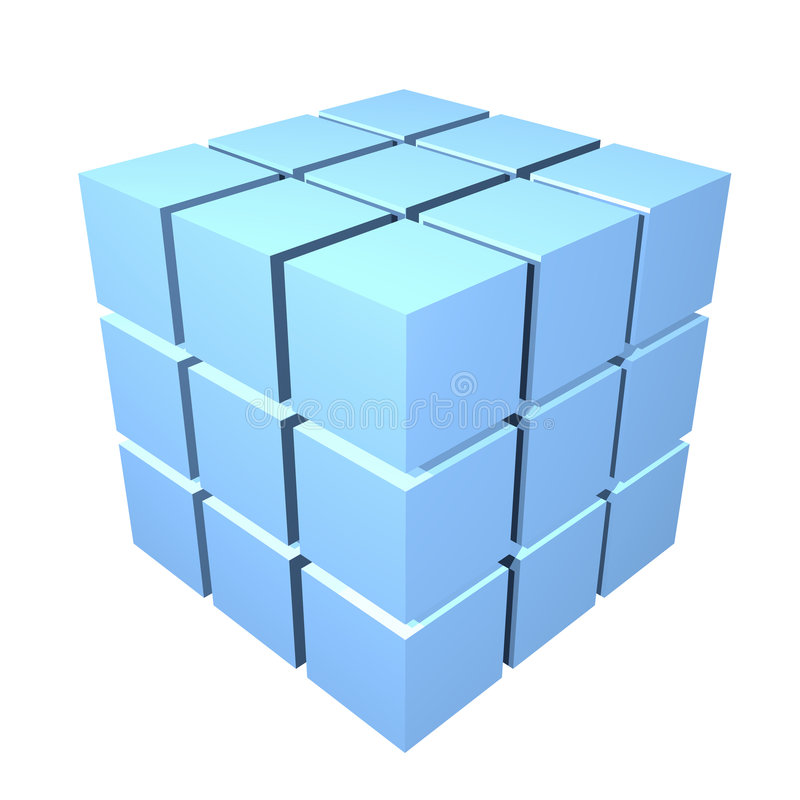 cubos del metal 3d stock de ilustración