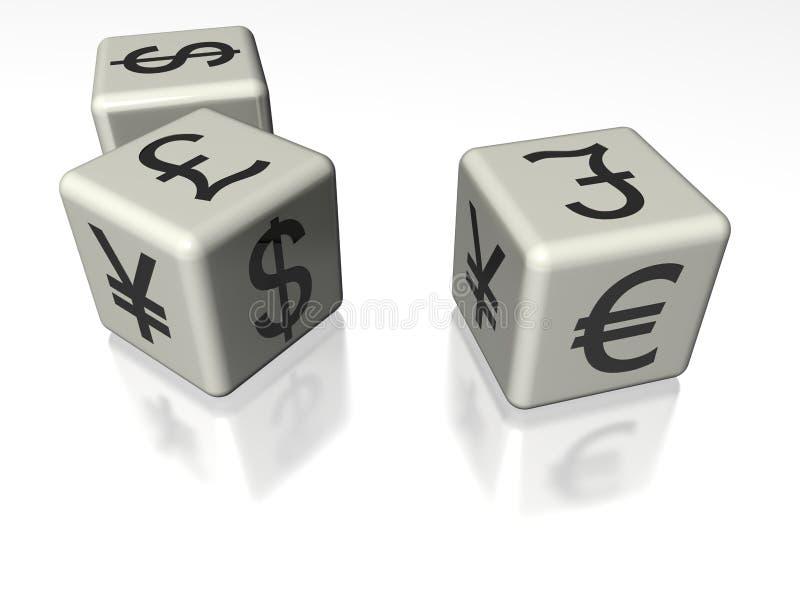 Cubos del símbolo del dinero imagenes de archivo