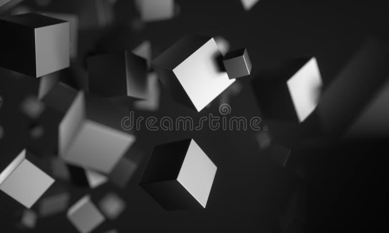 Cubos del Scifi en espacio vac?o ilustración del vector