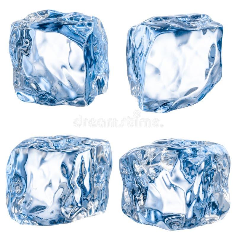 Cubos do gelo em um fundo branco. Com trajeto de grampeamento imagens de stock