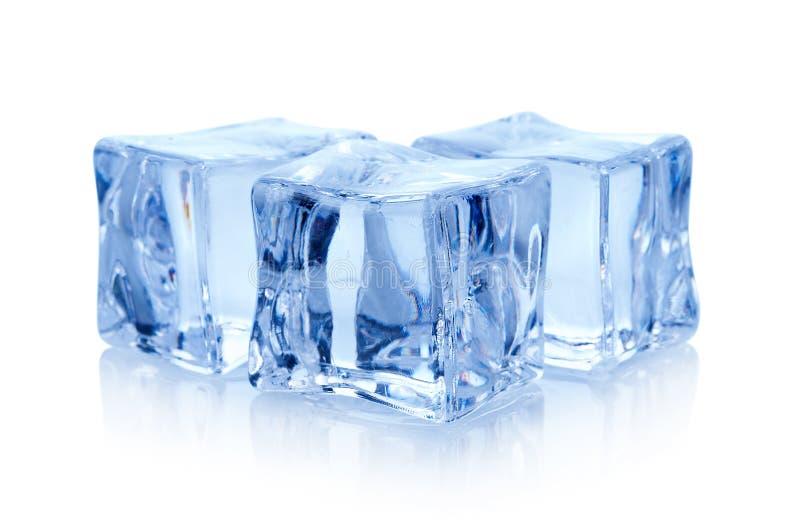 Cubos do gelo no fundo branco foto de stock
