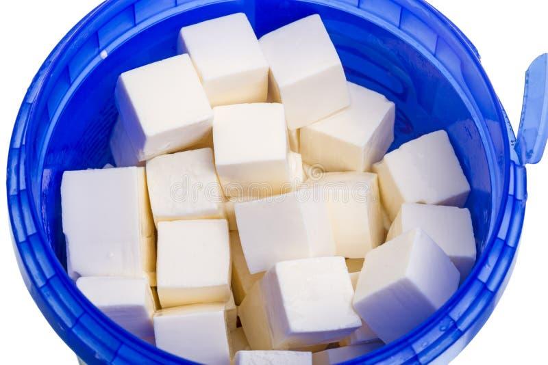 Cubos do queijo de cabra fotos de stock