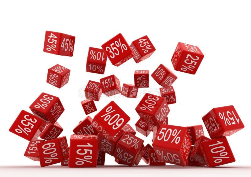 Cubos do vermelho de Fallingt ilustração do vetor