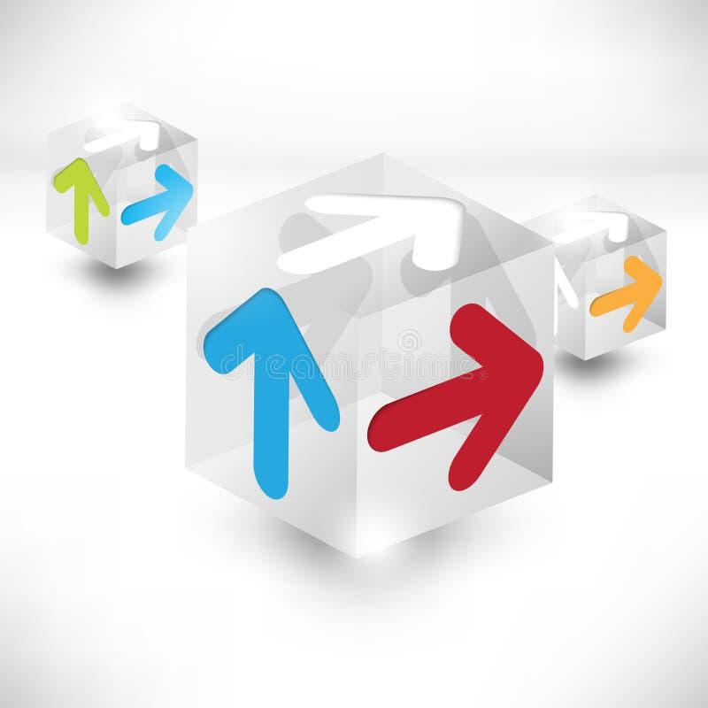Cubos do vetor 3d com fundo das setas ilustração stock