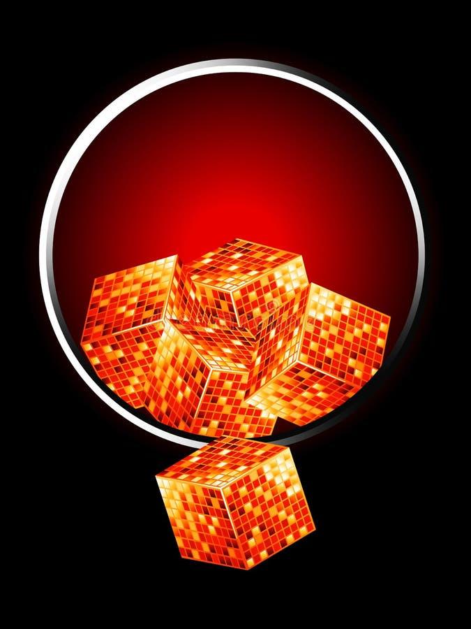Cubos dourados sobre a beira metálica ilustração do vetor