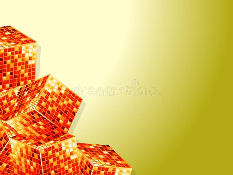 Cubos dourados sobre o fundo branco e amarelo ilustração stock
