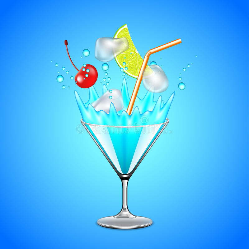 Cubos e frutos de gelo que caem no cocktail azul da lagoa ilustração do vetor
