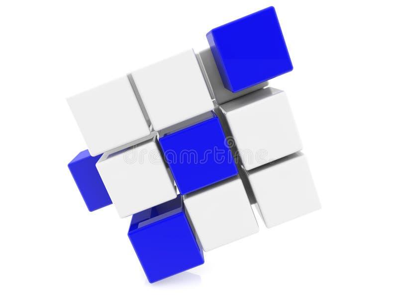 Cubos em azul e em branco ilustração 3D ilustração stock