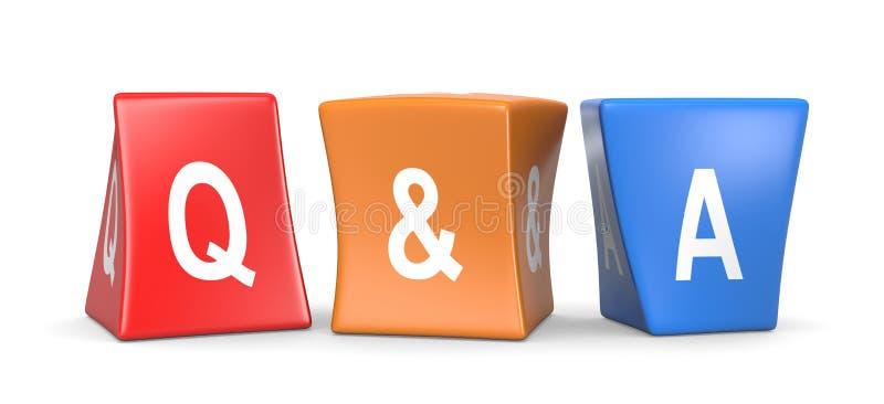 Cubos engraçados do conceito da pergunta e resposta ilustração stock