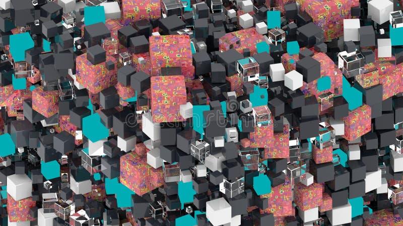 cubos Formas da geometria que vai para cima e para baixo Formulário isométrico do seção transversal do cubo ilustração 3D rendiçã ilustração stock
