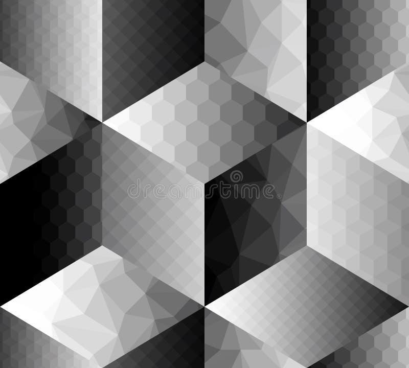 Cubos geométricos del fron del modelo con diferente stock de ilustración