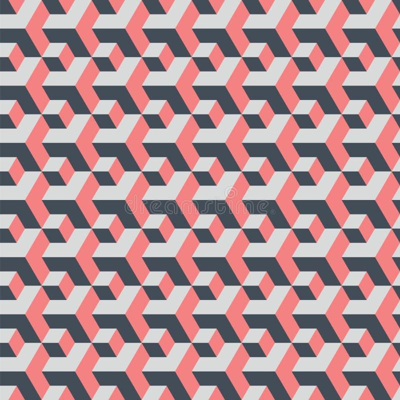 Cubos grandes y pequeños Fondo geométrico inconsútil abstracto stock de ilustración