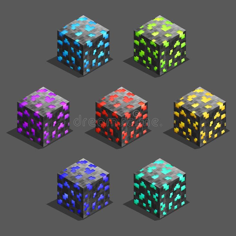 Cubos isométricos do tijolo do pixel do jogo ajustados Cubo para o jogo, textura do pixel do elemento para o jogo de computador ilustração stock