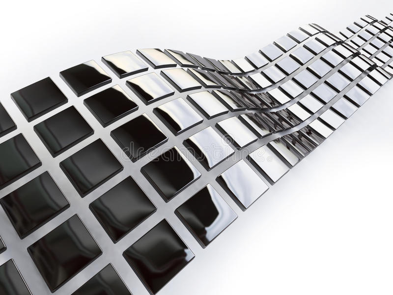 Cubos metálicos em 3d ilustração do vetor