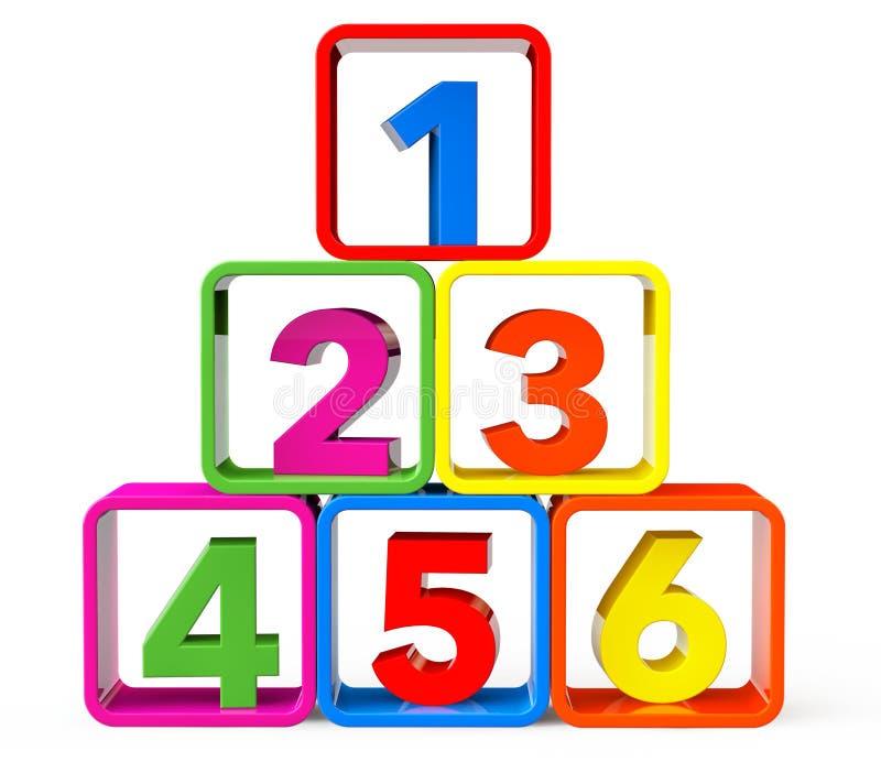 Cubos multicolores como soporte con 123 números stock de ilustración