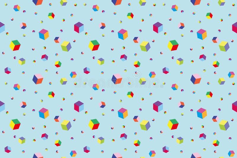 Cubos multicoloridos no fundo azul ilustração do vetor