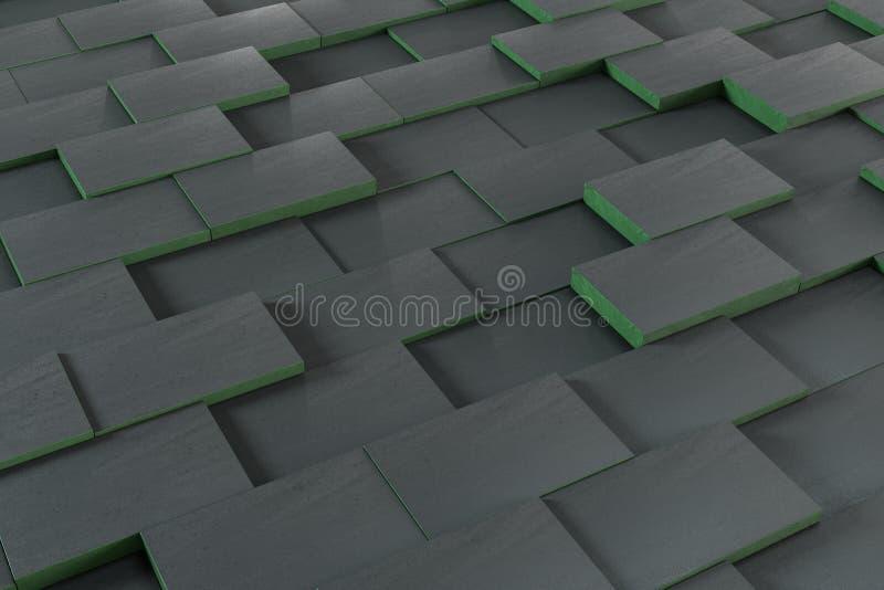 Cubos ondulados escuros, fundo gráfico tecnologico, rendição 3d ilustração royalty free