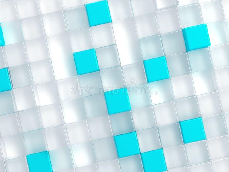 Cubos plásticos brancos e azuis ilustração stock