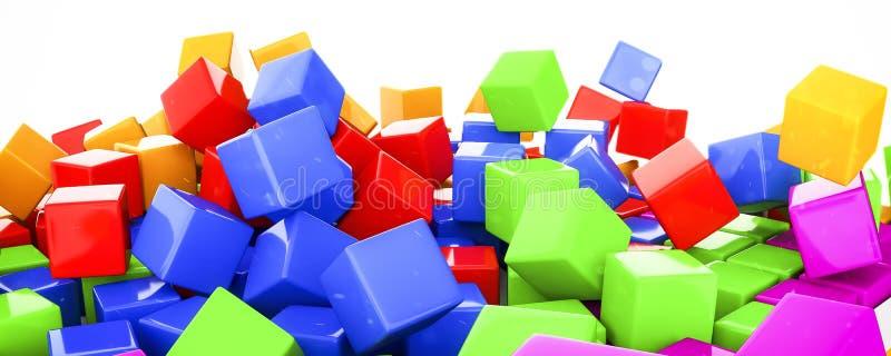 cubos plásticos na vária ilustração das cores 3d ilustração do vetor