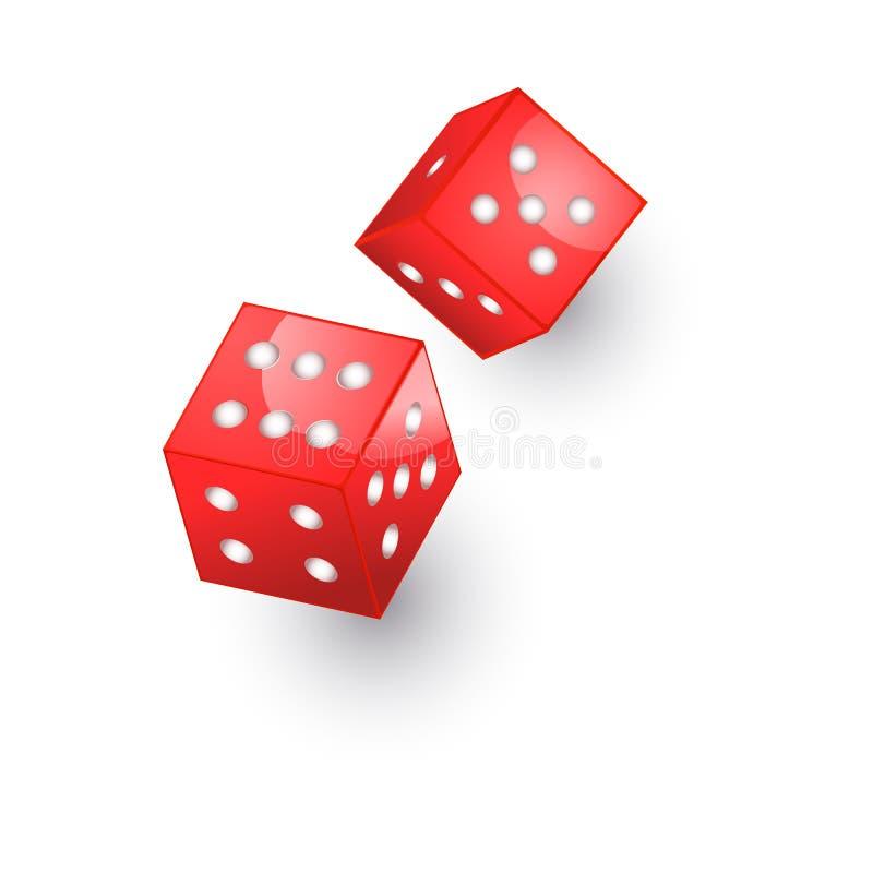 Cubos planos de los dados del casino de la historieta del vector Aislado stock de ilustración