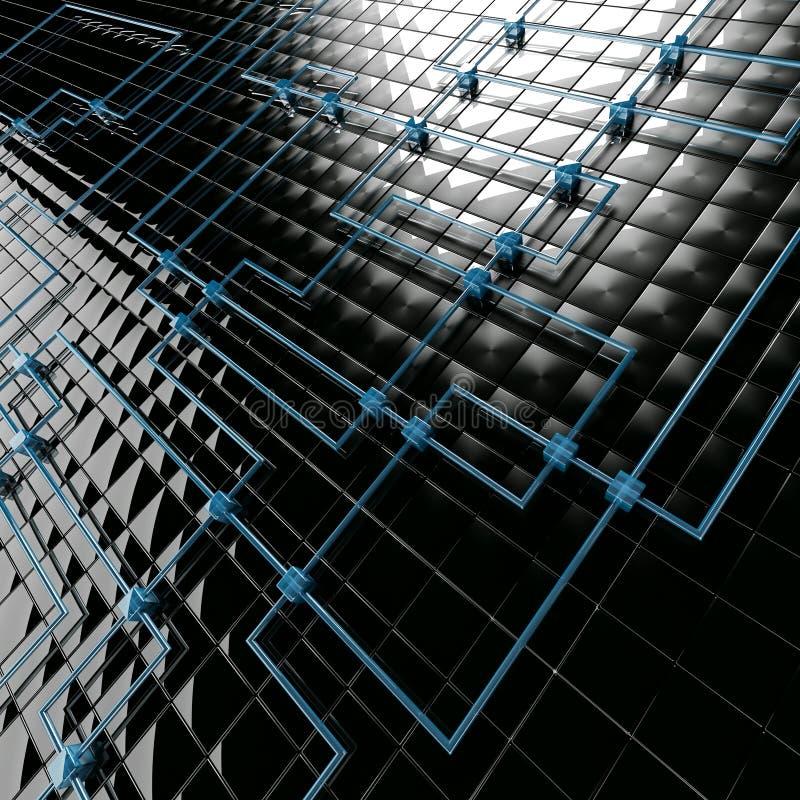 Cubos pretos e azuis do metal ilustração stock