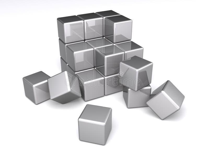 Cubos que desmenuzan ilustración del vector