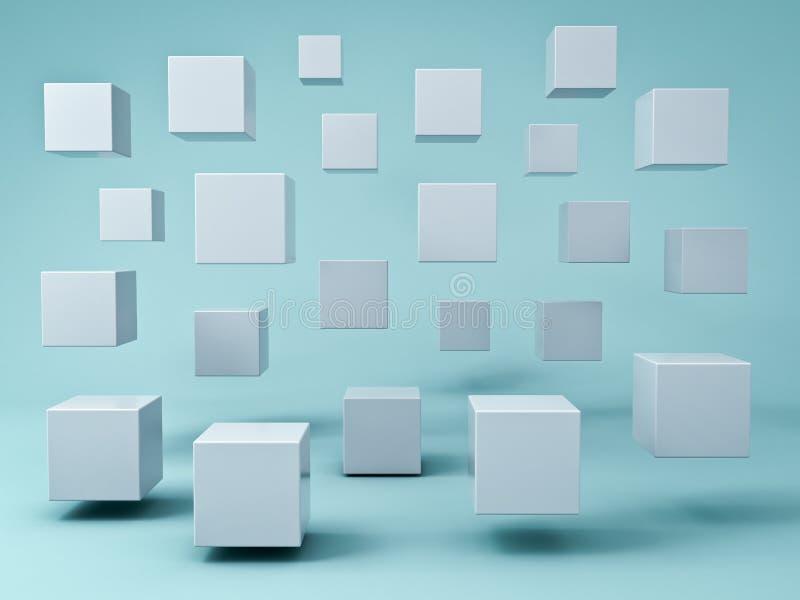 Cubos que vuelan blancos abstractos 3d en fondo ciánico verde del color en colores pastel con la reflexión y las sombras ilustración del vector