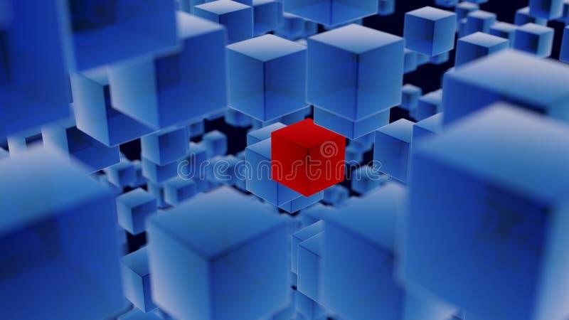 Cubos translúcidos azules con un fondo rojo del cubo imagen de archivo libre de regalías