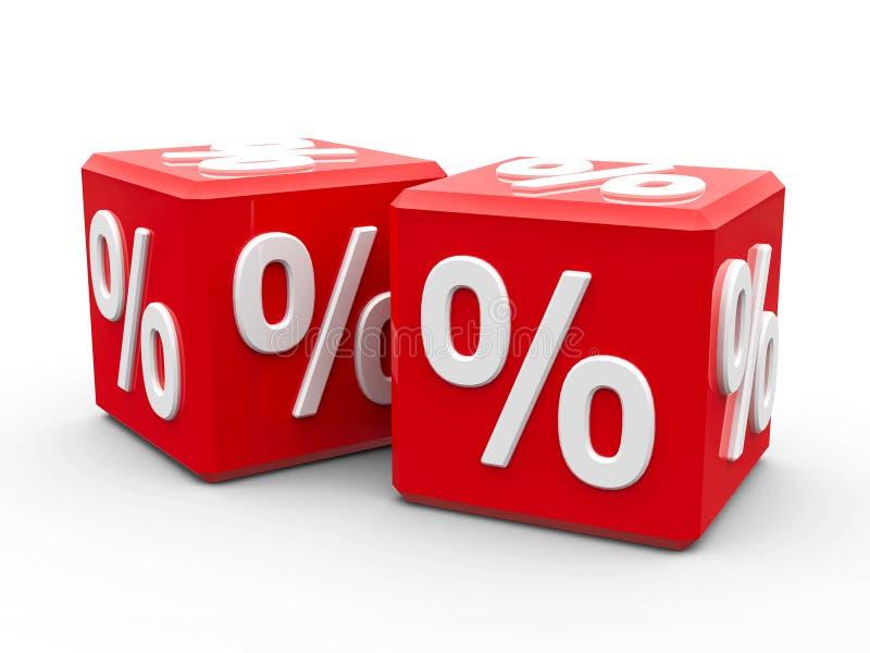 Cubos vermelhos com por cento ilustração stock