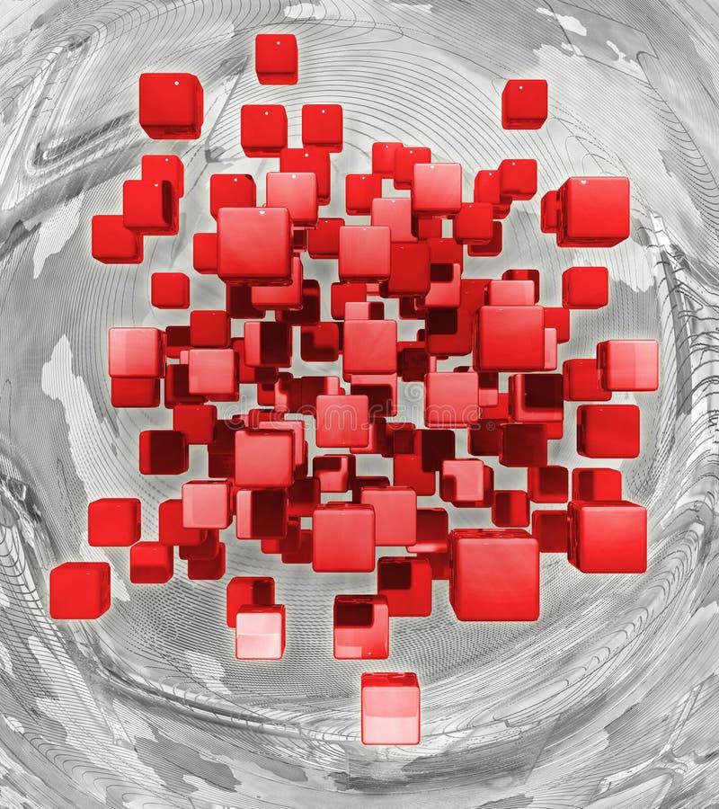 Cubos vermelhos de voo em um fundo abstrato rendição 3d ilustração royalty free