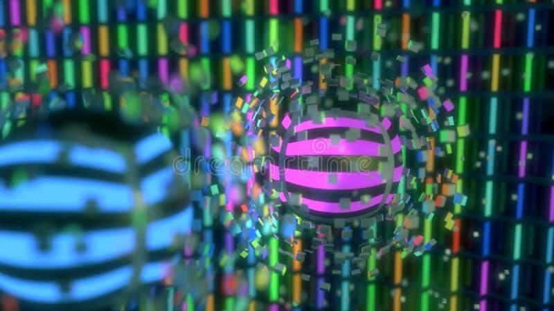 Cubos y esfera abstractos del fondo, representación 3d stock de ilustración