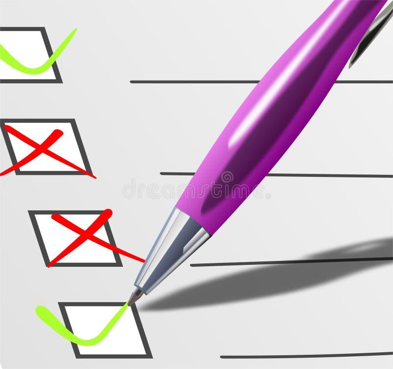 Cubra com check-boxes e o ballpoint cor-de-rosa - detalhe ilustração do vetor