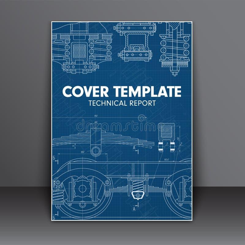 Cubra el azul del diseño con en el estilo técnico para un informe del libro o un o stock de ilustración