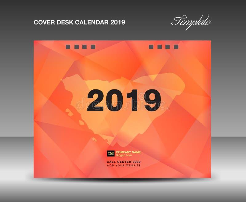 Cubra el diseño del calendario de escritorio 2019, plantilla del informe anual, aviador del folleto del negocio, anuncios, follet ilustración del vector