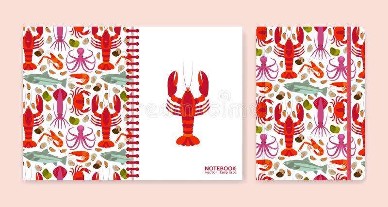Cubra el diseño para los cuadernos o los libros de recuerdos con los mariscos ilustración del vector